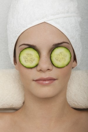 Eyes Treatment with Cucumber Stock Photo - 7355875