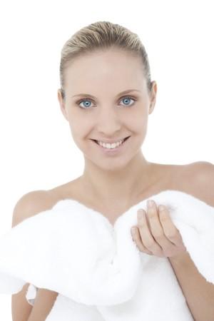 Beautiful woman wearing bathrobe Stock Photo - 7368758
