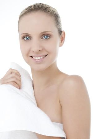 Beautiful woman wearing bathrobe photo