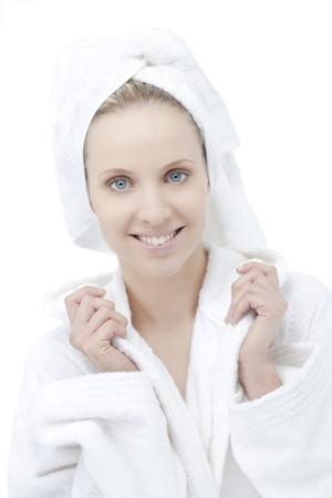 Beauty with bathrobe and towel on head photo