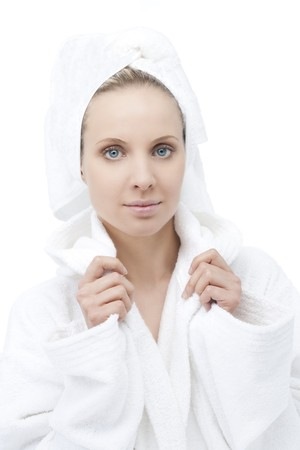 Beauty with bathrobe and towel on head Stock Photo - 7368765