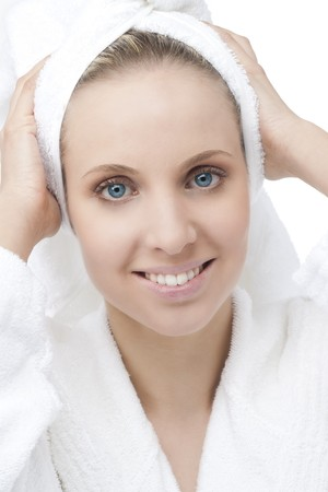 Beauty with bathrobe and towel on head Stock Photo - 7368817