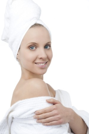 Beauty with bathrobe and towel on head Stock Photo - 7368734
