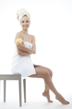 Beauty with towel and sponge photo