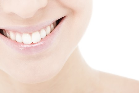 teeth whitening: Beautiful and healthy woman smile, close-up Stock Photo