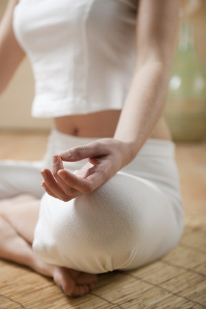 Hands of young woman meditating, focus on the hand Stock Photo - 7368941