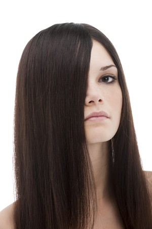 Long beautiful hair covering half face Stock Photo - 7417554