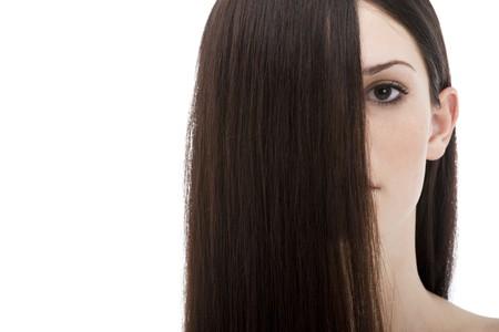 Long beautiful hair covering half face