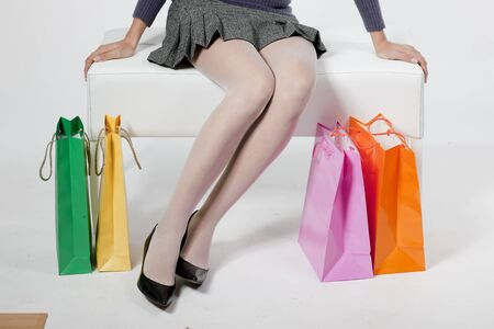 Woman with shoping bags photo