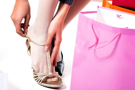 Woman's foot trying on shoe, Stock Photo - 7417709