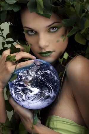 amor al planeta: Hermosa madre naturaleza proteger la tierra