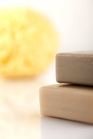 natural soap: Bath sponge and natural soap Stock Photo