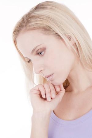 Thoughtfulsad young woman photo