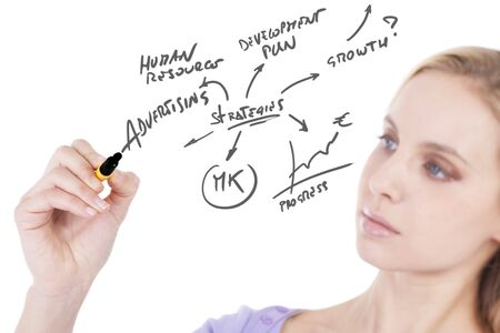 femme dessin: Young woman drawing a business plan