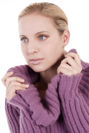 Beautiful young woman in soft sweater, isolated on white Stock Photo - 7452838