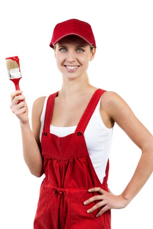 Young woman with paintbrush photo