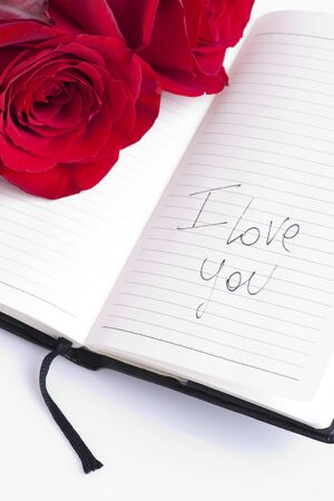love message: Red rose on planner, I love you writte on it