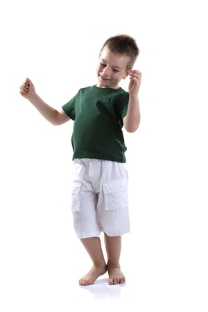 Little boy dancing, white background Stock Photo - 7471150