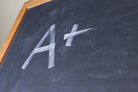 Plus grade on chalkboard photo