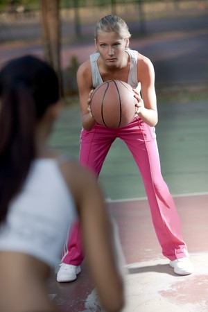 Female basketball players, selective focus photo