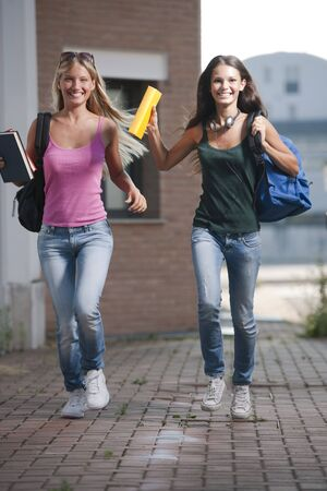 Happ students running Stock Photo - 7801493