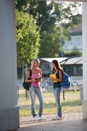 Happy students walking Stock Photo - 7801511