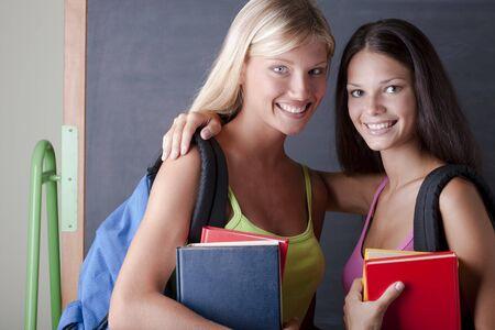 Teenage girls ready for school photo