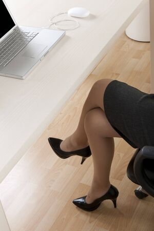 Close-up of businesswoman legs