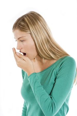 Young woman coughing photo