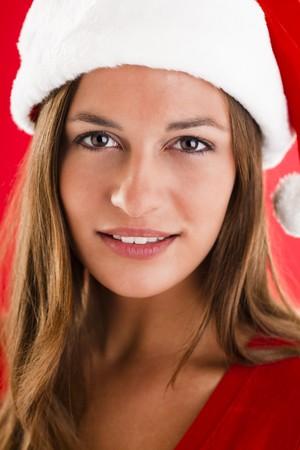 Close-up of a beautiful and sweet Santa Girl photo