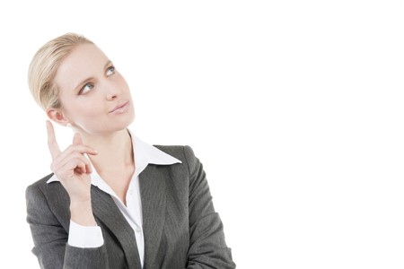 Pensive businesswoman, wondering about something Stock Photo - 7941032