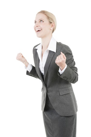 Excited Businesswoman with hands raised photo
