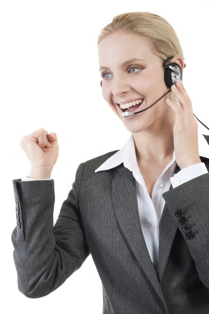 Happy customer service representative photo