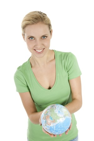 Young woman holding the globe in both hands Stock Photo - 7941082
