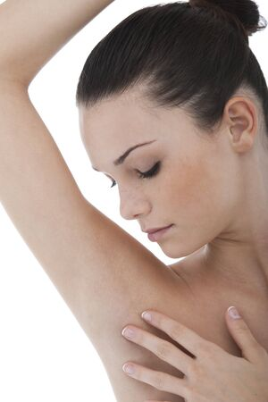 adult armpit: Young woman stroking her clean armpit