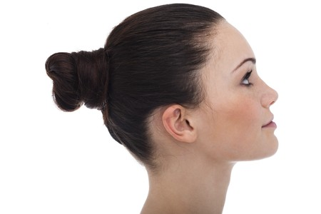 chignon: Profile of a young womanteenage girl