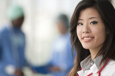 Chinese female doctor, surgeons on backgrounds photo