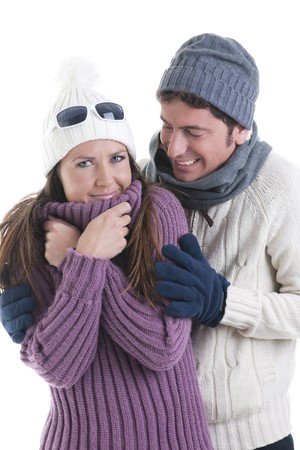 couple winter: Young couple in winter clothes Stock Photo