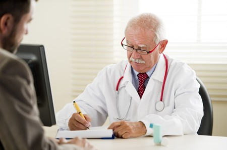 third age: Senior doctor with his patient