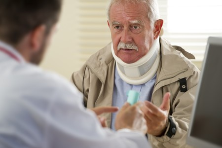 third age: Senior man at the doctor, selective focus