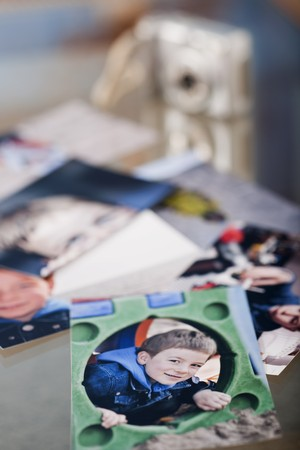 third age: Photographs spread over the table Stock Photo