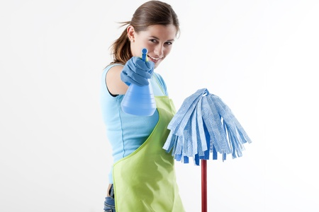 Crazy Housewife Ready To Fight With Spray Bottle and Mop photo