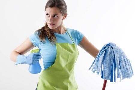 spr�hflasche: Crazy Hausfrau-Ready To Fight Spr�hflasche mit Mop