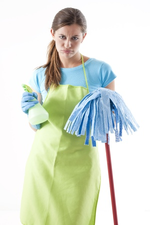 Tired Woman Doing the Cleaning, white background Stock Photo - 8330546