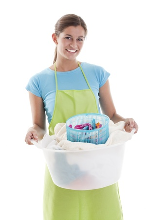 stereotypical housewife: Happy Woman Doing the Laundry, white background