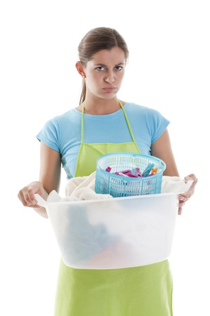 Tired Woman Doing the Laundry, white background Stock Photo - 8330480