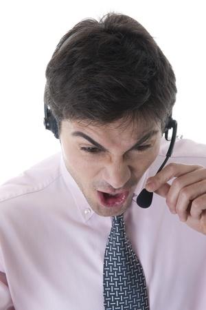 Angry Customer Service Representative on white photo