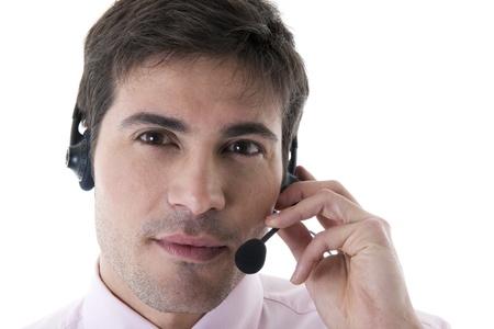 Confident Customer Service Representative on White photo