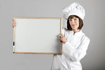 Female Chef with Blackboard photo