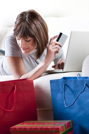 Woman doing online shopping photo